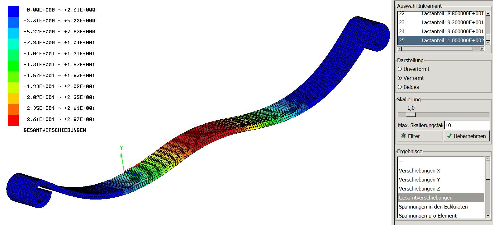 Beispiel nichtlineare berechnung einer blattfeder fem for Fem berechnung beispiel