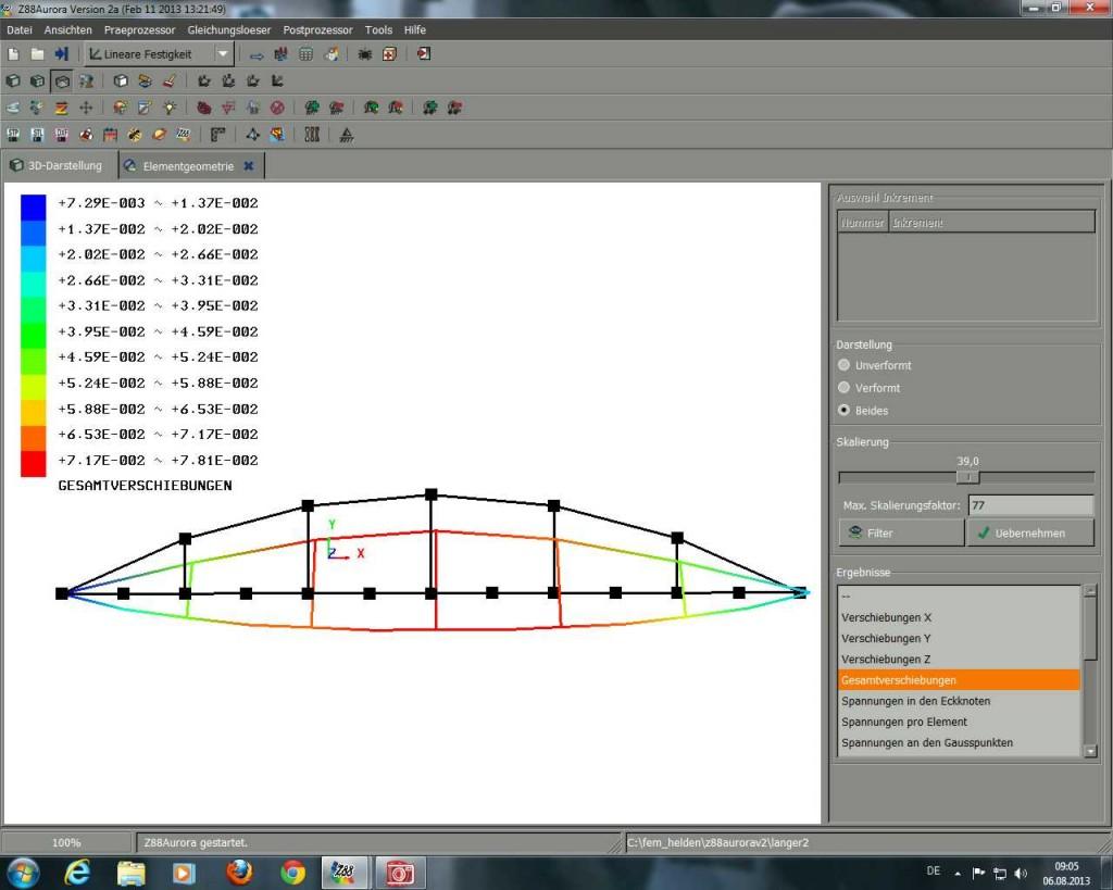 Darstellung der Berechnungsergebnisse
